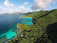 Aerial view of Denis Bay, Jumby Bay and Trunk Bay<br /> Virgin Islands National Park<br /> St. John, U.S. Virgin Islands