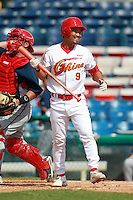 Shortstop/Coach Zhang Yufeng (9) of the China National Team during a game vs. the Washington Nationals Instructional League team at Holman Stadium in Vero Beach, Florida September 28, 2010.   China is in Florida training for the Asia games which will be played in Guangzhou, China in November.  Photo By Mike Janes/Four Seam Images