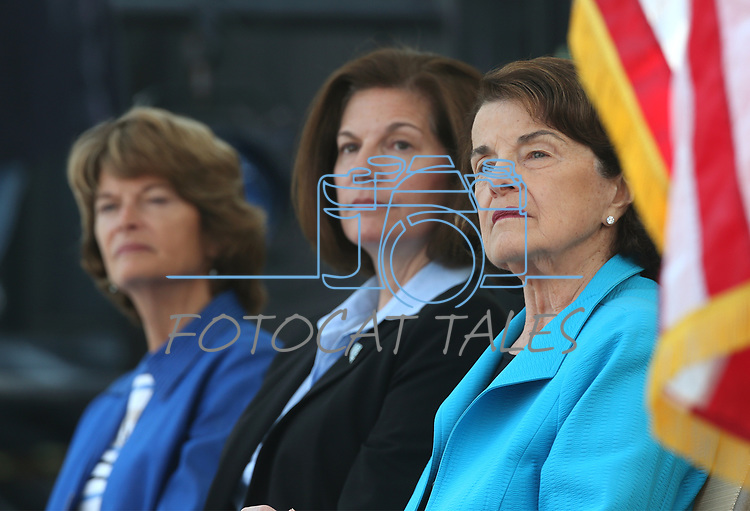 From left, U.S. Sens. Lisa Murkowski, R-Alaska, Catherine Cortez Masto, D-Nev., and Dianne Feinstein, D-Calif., listen to speakers at the 22nd annual Lake Tahoe Summit, at Sand Harbor State Park, near Incline Village, Nev., on Tuesday, Aug. 7, 2018.<br /> Photo by Cathleen Allison/Nevada Momentum