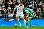 Dani Carvajal of Real Madrid and Alex Moreno of Real Betis Balompie during La Liga match between Real Madrid and Real Betis Balompie at Santiago Bernabeu Stadium in Madrid, Spain. November 02, 2019. (ALTERPHOTOS/A. Perez Meca)