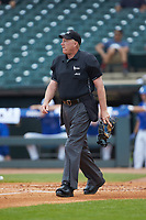 Home plate umpire Frank Sylvester works the game between the Duke Blue Devils and the Florida State Seminoles in the first semifinal of the 2017 ACC Baseball Championship at Louisville Slugger Field on May 27, 2017 in Louisville, Kentucky. The Seminoles defeated the Blue Devils 5-1. (Brian Westerholt/Four Seam Images)