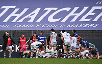 21st November 2020; Recreation Ground, Bath, Somerset, England; English Premiership Rugby, Bath versus Newcastle Falcons; Referee Craig Maxwell-Keys signals a try for Newcastle Falcons scored by Gary Graham of Newcastle Falcons