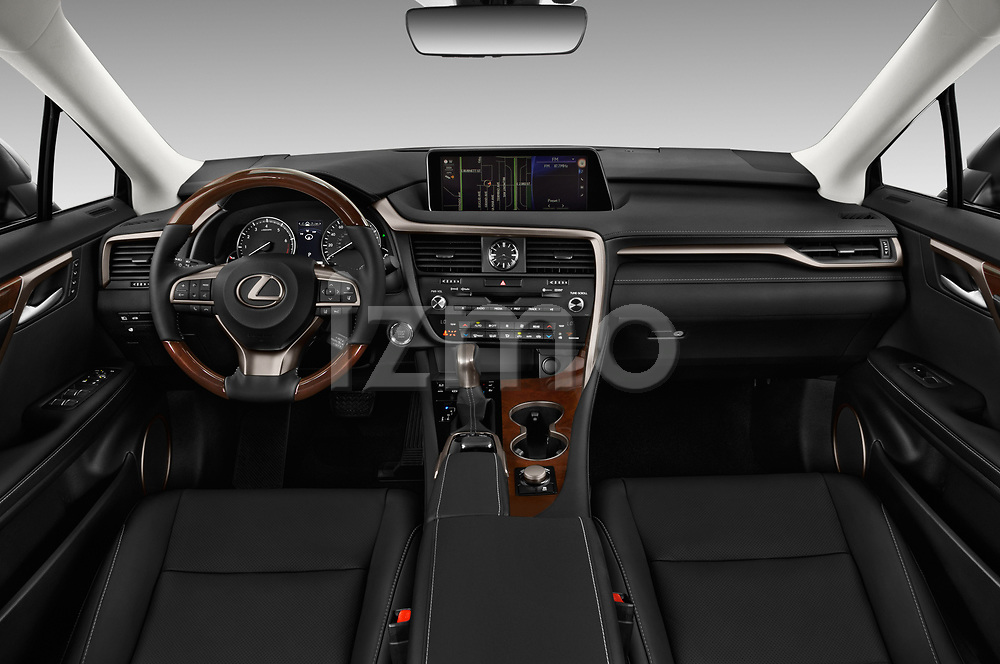 Stock photo of straight dashboard view of a 2017 Lexus RX 350 L 5 Door SUV