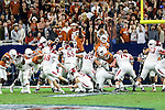 Arkansas Razorbacks place kicker Adam McFain (48) in action during the Advocare V100 Texas Bowl game between the Arkansas Razorbacks and the Texas Longhorns at the NRG Stadium in Houston, Texas. Arkansas defeats Texas 31 to 7.