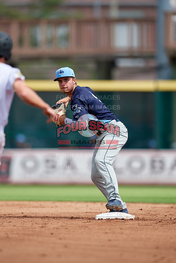 Charlotte Stone Crabs second baseman Tyler Frank (5) throws to first base during a Florida State League game against the Bradenton Marauders on April 10, 2019 at LECOM Park in Bradenton, Florida.  Bradenton defeated Charlotte 2-1.  (Mike Janes/Four Seam Images)