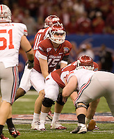 Ryan Mallett of Arkansas in action against Ohio State during 77th Annual Allstate Sugar Bowl Classic at Louisiana Superdome in New Orleans, Louisiana on January 4th, 2011.  Ohio State defeated Arkansas, 31-26.