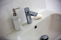 Pictured: The toilet sink, tap, soap dispenser and soap bar Wednesday 26 April 2017<br /> Re: Waterstone Homes' most recent property development Howell's Reach, is in Derwen Fawr, Swansea and is made up of 13 luxury family homes, and also includes five affordable homes.