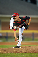 Batavia Muckdogs pitcher LJ Brewster (33) follows through on a pitch during a game against the Mahoning Valley Scrappers on June 22, 2015 at Dwyer Stadium in Batavia, New York.  Mahoning Valley defeated Batavia 15-11.  (Mike Janes/Four Seam Images)