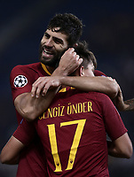 Football Soccer: UEFA Champions League  AS Roma vs PFC CSKA Mosca Stadio Olimpico Rome, Italy, October 23, 2018. <br /> Roma's Cengiz Under (in front of) celebrates after scoring with his teammate Federico Fazio (behind) during the Uefa Champions League football soccer match between AS Roma and PFC CSKA Mosca at Rome's Olympic stadium, October 23, 2018.<br /> UPDATE IMAGES PRESS/Isabella Bonotto