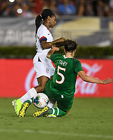 PASADENA, CALIFORNIA - August 03: Crystal Dunn #19, Niamh Fahey #5 during their international friendly and the USWNT Victory Tour match between Ireland and the United States at the Rose Bowl on August 03, 2019 in Pasadena, CA.