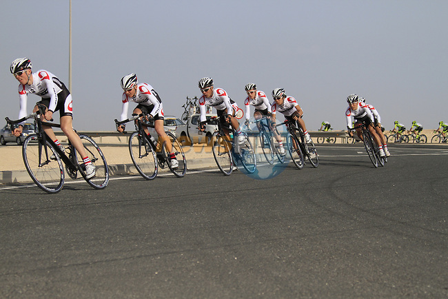 Bridgestone Anchor team in action during the 2nd Stage of the 2012 Tour of Qatar an 11.3km team time trial at Lusail Circuit, Doha, Qatar. 6th February 2012.<br /> (Photo Eoin Clarke/Newsfile)