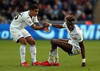 (L-R) Kyle Naughton of Swansea City helps team mate Tammy Abraham to his feet during the Premier League match between Swansea City and Brighton and Hove Albion at The Liberty Stadium, Swansea, Wales, UK. Saturday 04 November 2017