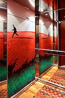 modern colorful elevator cab