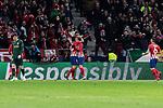 Atletico de Madrid's Angel Martin Correa (L) and Antoine Griezmann (R) celebrates goal during UEFA Champions League match between Atletico de Madrid and AS Monaco at Wanda Metropolitano Stadium in Madrid, Spain. November 28, 2018. (ALTERPHOTOS/A. Perez Meca)