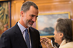 "King Felipe Vi of Spain and Miguel de la Quadra-Salcedo during Royal Audience to a representation of young participating in the cultural program ""Ruta BBVA 2015"" at Zarzuela Palace in Madrid, July 28, 2015. <br /> (ALTERPHOTOS/BorjaB.Hojas)"