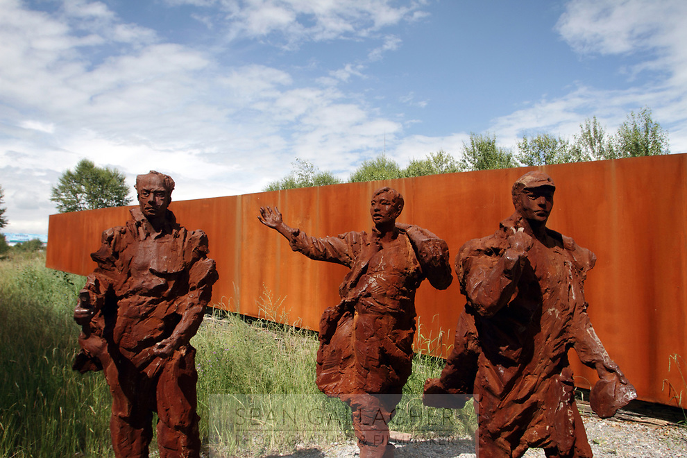 CHINA. A sculpture outside a museum dedicated to China's first nuclear weapos programme in Xihai Township, or 'Atomic City'. It was the place where China's first atomic bomb was made and tested, on the Qinghai-Tibet Plateau in western China. 2010