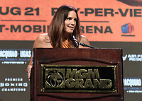 LAS VEGAS, NV - AUG 18: Heidi Androl at a press conference at the MGM Grand Garden Arena on August 18, 2021 for their upcoming Fox Sports PBC pay-per-view fight in Las Vegas, Nevada. Pacquiao vs Ugas pay-per-view will be on August 21 at T-Mobile Arena in Las Vegas. (Photo by Scott Kirkland/Fox Sports/PictureGroup)