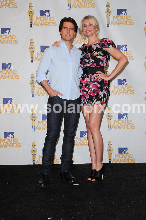 **ALL ROUND PICTURES FROM SOLARPIX.COM**.**SYNDICATION RIGHTS FOR UK, AUSTRALIA, DENMARK, PORTUGAL, S. AFRICA, SPAIN & DUBAI (U.A.E) & ASIA (EXCLUDING JAPAN) ONLY**.2010 MTV Movie Awards - Press Room, Gibson Amphitheatre, Universal City, CA, USA, 06 June 2010.This pic: Cameron Diaz and Tom Cruise.JOB REF: 11414    PHZ charlotte    DATE: 06_06_2010.**MUST CREDIT SOLARPIX.COM OR DOUBLE FEE WILL BE CHARGED**.**MUST NOTIFY SOLARPIX OF ONLINE USAGE**.**CALL US ON: +34 952 811 768 or LOW RATE FROM UK 0844 617 7637**