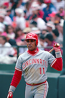 SAN FRANCISCO, CA - Barry Larkin of the Cincinnati Reds waits in the on deck circle during a game against the San Francisco Giants at Candlestick Park in San Francisco, California in 1990. Photo by Brad Mangin