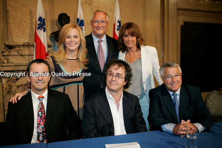 Montreal (Qc) CANADA - August 2009 24 file Photo : Gerald Tremblay, Julie Snyder, Stephane Laporte announce an upcoming TV show about the Hockey rivalty between Montreal and Quebec cities:  Stephane Laporte
