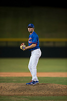 AZL Cubs 2 relief pitcher Nathan Sweeney (48) prepares to deliver a pitch during an Arizona League game against the AZL Rangers at Sloan Park on July 7, 2018 in Mesa, Arizona. AZL Rangers defeated AZL Cubs 2 11-2. (Zachary Lucy/Four Seam Images)