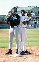 Chicago White Sox Frank Thomas and Boston Red Sox Mo Vaughn during spring training circa 1991 at Chain of Lakes Park in Winter Haven, Florida.  (MJA/Four Seam Images)