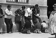 Children employed at shoe shine stand in La Paz,  Bolivia - Child labor as seen around the world between 1979 and 1980 – Photographer Jean Pierre Laffont, touched by the suffering of child workers, chronicled their plight in 12 countries over the course of one year.  Laffont was awarded The World Press Award and Madeline Ross Award among many others for his work.