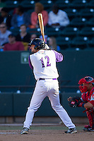 Nick Basto (12) of the Winston-Salem Dash at bat against the Salem Red Sox at BB&T Ballpark on April 20, 2014 in Winston-Salem, North Carolina.  The Dash defeated the Red Sox 10-8.  (Brian Westerholt/Four Seam Images)