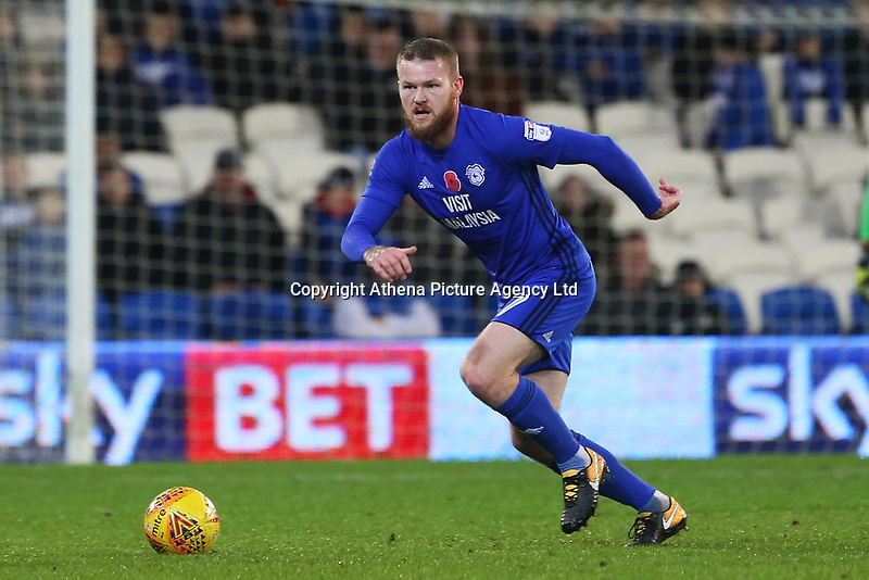 Aron Gunnarsson of Cardiff City during the Sky Bet Championship match between Cardiff City and Brentford at the Cardiff City Stadium, Wales, UK. Saturday 18 November 2017