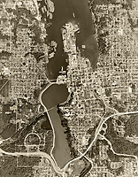 historical aerial photograph of Olympia, Washington, 1968