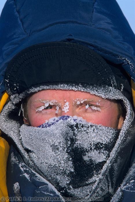 Frost covered face mask, Arctic Coastal Plains, Alaska
