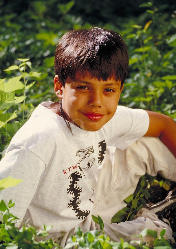 YUROK BOY ON RESERVATION. NATIVE-AMERICAN BOY. KLAMATH CALIFORNIA USA.