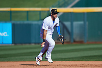 Mesa Solar Sox second baseman David Bote (15), of the Chicago Cubs organization, prepares to flip a ball to first base during an Arizona Fall League game against the Glendale Desert Dogs on October 28, 2017 at Sloan Park in Mesa, Arizona. The Solar Sox defeated the Desert Dogs 9-6. (Zachary Lucy/Four Seam Images)