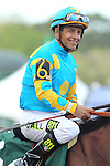 April 11, 2015: Jockey Victor Espinoza before the running of the Arkansas Derby at Oaklawn Park in Hot Springs, AR. Justin Manning/ESW/CSM