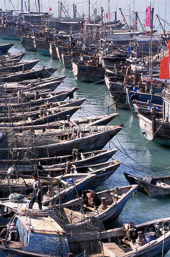 Fishing fleet on Meizhou Island, China. Fujian's rugged coastline is famed for smuggling. .