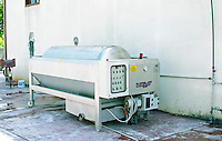 A modern pneumatic press. Cobo winery, Poshnje, Berat. Albania, Balkan, Europe.