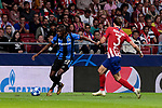 Atletico de Madrid's Filipe Luis and Club Brugge's Arnaut Danjuma during UEFA Champions League match between Atletico de Madrid and Club Brugge at Wanda Metropolitano Stadium in Madrid, Spain. October 03, 2018. (ALTERPHOTOS/A. Perez Meca)