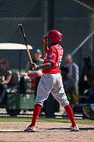 Cincinnati Reds outfield Zeke White (35) at bat during an Instructional League game against the Oakland Athletics on September 29, 2017 at Lew Wolff Training Complex in Mesa, Arizona. (Zachary Lucy/Four Seam Images)