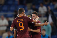 Calcio, Serie A: Roma, stadio Olimpico, 21 settembre 2016.<br /> Roma's Stephan El Shaarawy, right, celebrates with teammate Edin Dzeko, after scoring during the Serie A soccer match between Roma and Crotone at Rome's Olympic stadium, 21 September 2016. Roma won 4-0.<br /> UPDATE IMAGES PRESS/Isabella Bonotto
