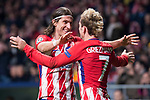 Atletico de Madrid Filipe Luis and Antoine Griezmann celebrating a goal during UEFA Champions League match between Atletico de Madrid and Roma at Wanda Metropolitano in Madrid, Spain. November 22, 2017. (ALTERPHOTOS/Borja B.Hojas)
