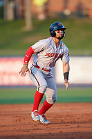 Florida Fire Frogs Jefrey Ramos (15) leads off during a Florida State League game against the St. Lucie Mets on April 12, 2019 at First Data Field in St. Lucie, Florida.  Florida defeated St. Lucie 10-7.  (Mike Janes/Four Seam Images)