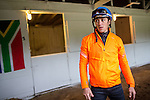 APRIL 30, 2015: Jockey Christophe Soumillon before morning workouts with Mubtaahij in preparation for the 141st Kentucky Derby at Churchill Downs in Louisville, Kentucky. Jon Durr/ESW/Cal Sport Media
