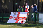 Rushall Olympic 1 Workingon 0, 17/02/2018. Dales Lane, Northern Premier League Premier Division. Workingon fans. Photo by Paul Thompson. Rushall Olympic 1 Workingon 0, Northern Premier League Premier Division, 17th February 2018. Rushall is a former mining village now part of the northern suburbs of Walsall.