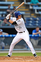 Asheville Tourists shortstop Pat Valaika #16 swings at a pitch during a game against the Lexington Legends at McCormick Field on May 14, 2014 in Asheville, North Carolina. The Legends defeated the Tourists 11-2. (Tony Farlow/Four Seam Images)