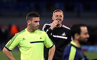 Wednesday 26 February 2014<br /> Pictured: Manager Garry Monk in training (C).<br /> Re: Swansea City FC press conference and training at San Paolo in Naples Italy for their UEFA Europa League game against Napoli.