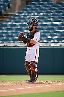 Bowie Baysox catcher Brett Cumberland (28) during an Eastern League game against the Akron RubberDucks on May 30, 2019 at Prince George's Stadium in Bowie, Maryland.  Akron defeated Bowie 9-5.  (Mike Janes/Four Seam Images)
