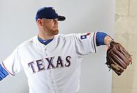 Feb. 20, 2013; Surprise, AZ, USA: Texas Rangers pitcher Kyle McClellan poses for a portrait during photo day at Surprise Stadium. Mandatory Credit: Mark J. Rebilas-