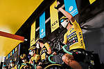 Race leader Wout Van Aert (BEL) and Team Jumbo-Visma at sign on before the start of Stage 2 of Criterium du Dauphine 2020, running 135km from Vienne to Col de Porte, France. 13th August 2020.<br /> Picture: ASO/Alex Broadway   Cyclefile<br /> All photos usage must carry mandatory copyright credit (© Cyclefile   ASO/Alex Broadway)