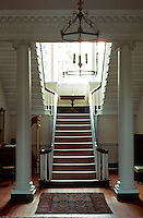 Annapolis:  Chase-Lloyd House--interior.  Palladian window, stairways, columns.  Photo '85.
