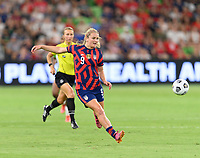 AUSTIN, TX - JUNE 16: Lindsey Horan #9 of the United States passes the ball to a teammate during a game between Nigeria and USWNT at Q2 Stadium on June 16, 2021 in Austin, Texas.